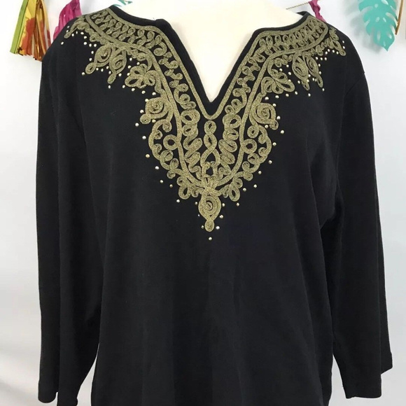 f8f2dfc8c96 Rebecca Malone Black Gold Long-Sleeve sz-1x